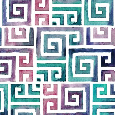 Indian Tribal Background Pattern. Watercolor Tribal Background