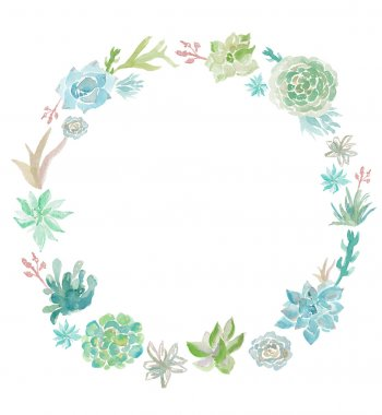 Watercolor Succulent Plant Wreath. Round Succulent Wreath