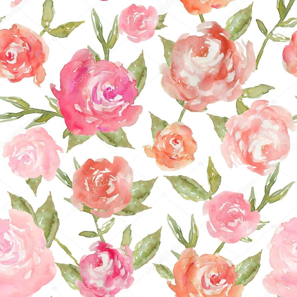 Watercolor Peony Background Pattern Repeating. Modern Watercolor