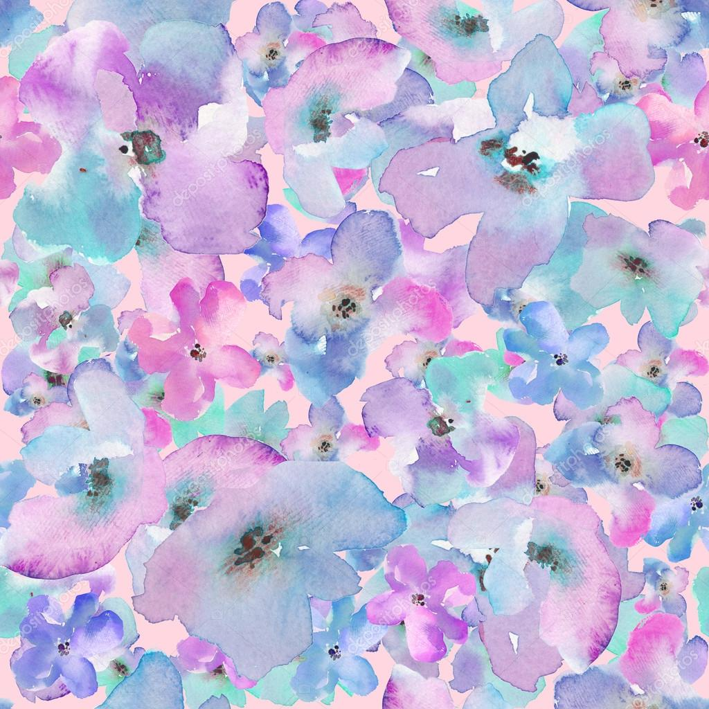 Abstract Watercolor Flower Pattern. Modern Flower Pattern. U2014 Photo By  Angiemakes