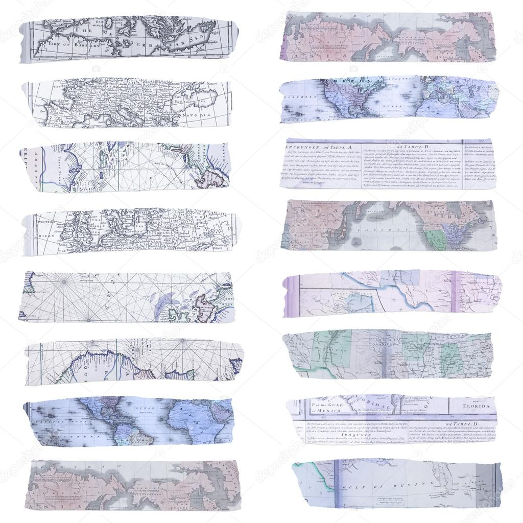 vintage washi tape with map texture stock photo