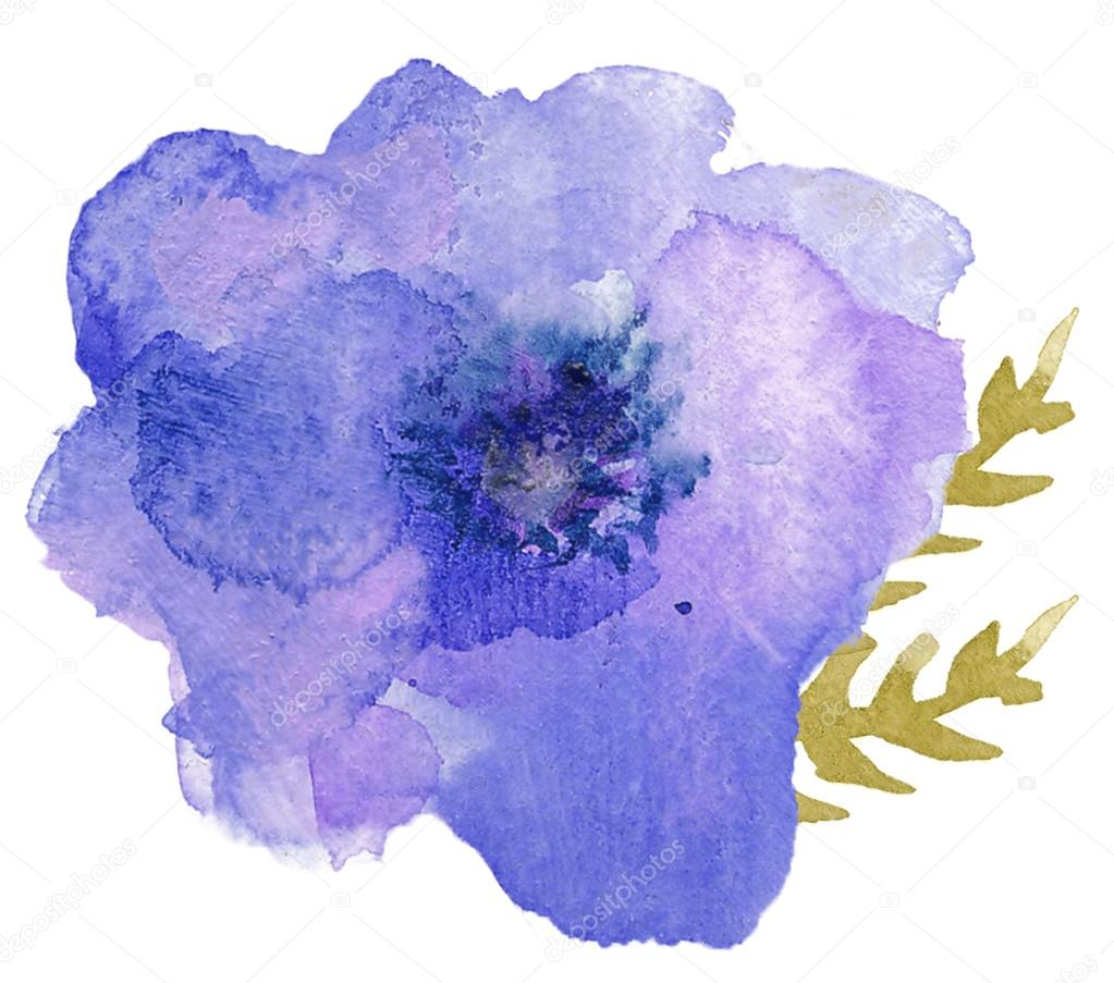 Single Watercolor Flower Stock Photo