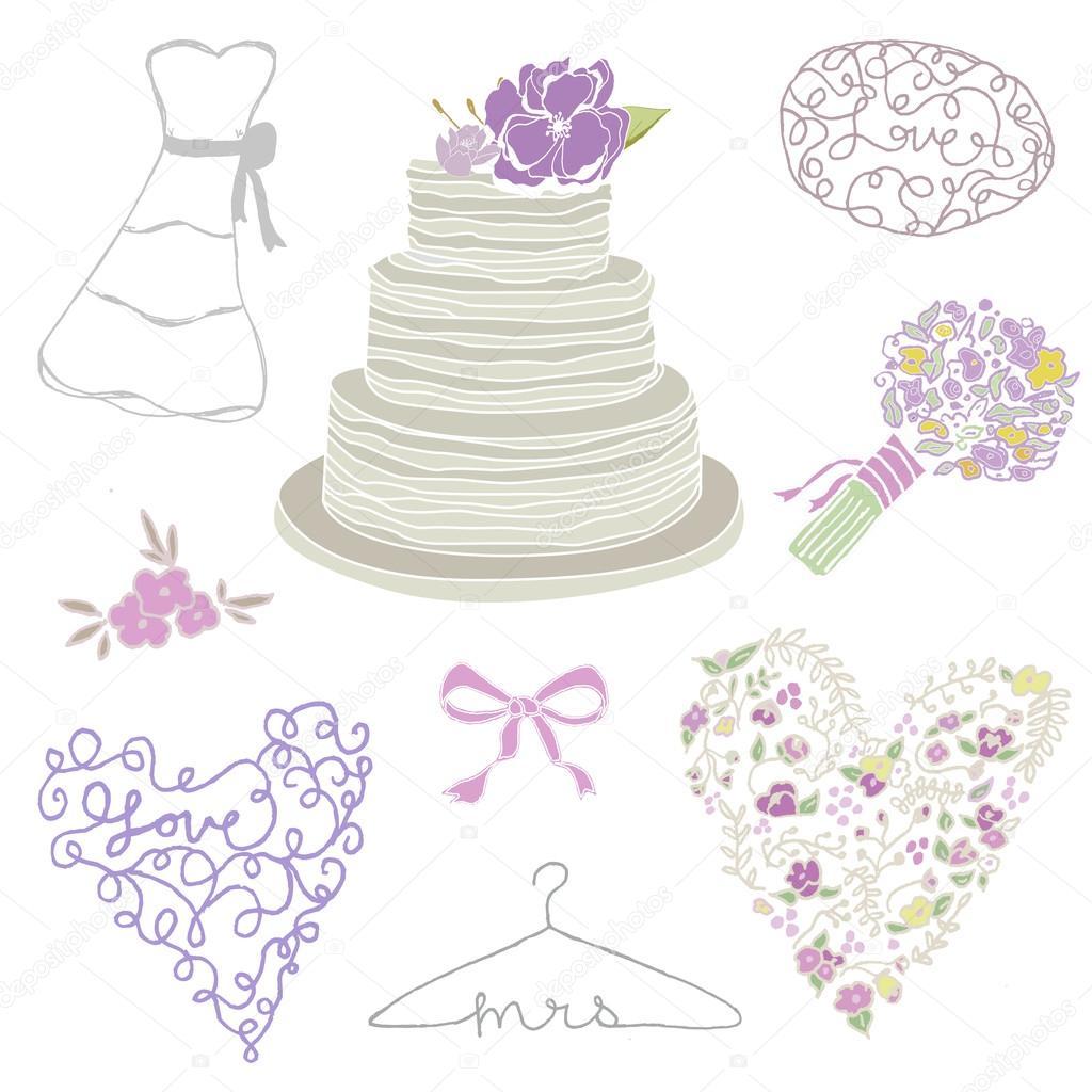 Sammlung Von Hand Gezeichneten Hochzeitstorte Und Hochzeit Elemente