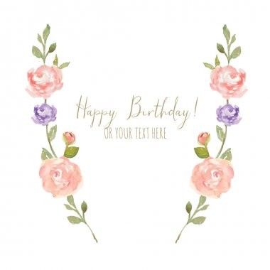 Flower Laurel Wreath With Happy Birthday