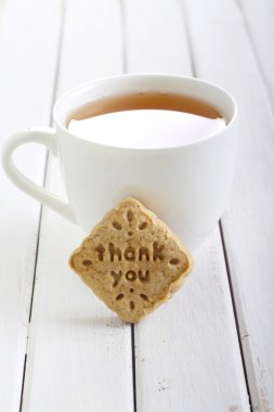 Stamp biscuit with words thank you