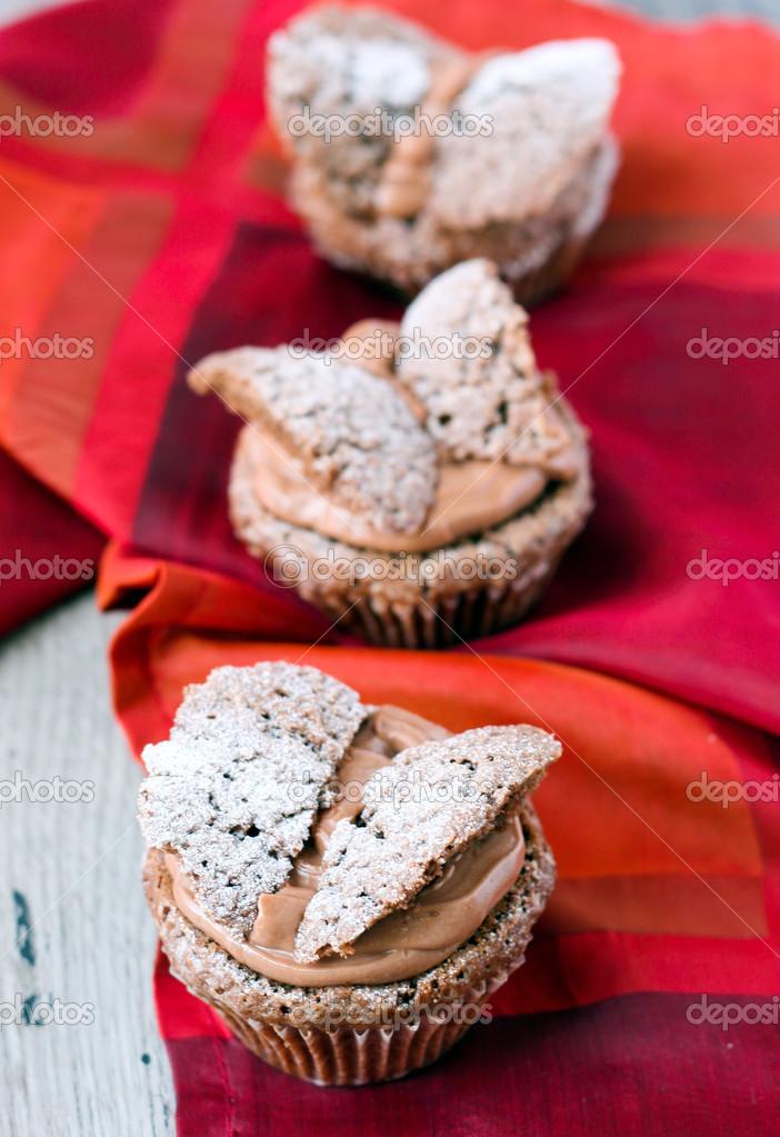 Schokolade Schmetterlinge Kuchen Stockfoto C Manyakotic 48178899
