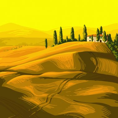 Tuscan landscape in the olive-yellow. Field of rye, traditional Italian villa, cypresses and mountains in the distance stock vector