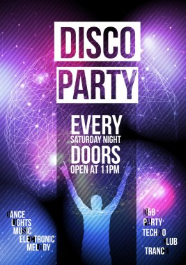 Disco Party Flyer Background Template - Vector Illustration