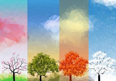 """Картина, постер, плакат, фотообои """"четыре моря весна, лето, осень, зима баннеры с абстрактными деревьями графика - вектор """", артикул 47011887"""
