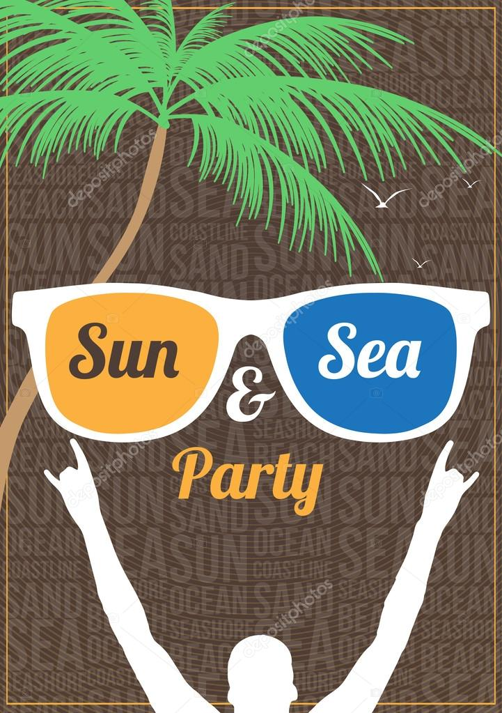 Minimal Summer Beach Party Flyer Template - Vector Illustration