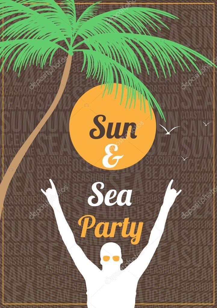 Minimal Summer Beach Party Flyer Template - Vector Illustration