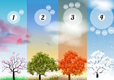 Four Seasons Spring, Summer, Autumn, Winter Banners with Abstract Trees Infographic - Vector Illustration