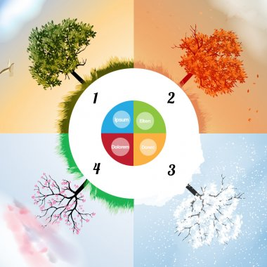 Four Seasons Spring, Summer, Autumn, Winter Banners with Abstract Trees Infographic - Vector Illustration stock vector