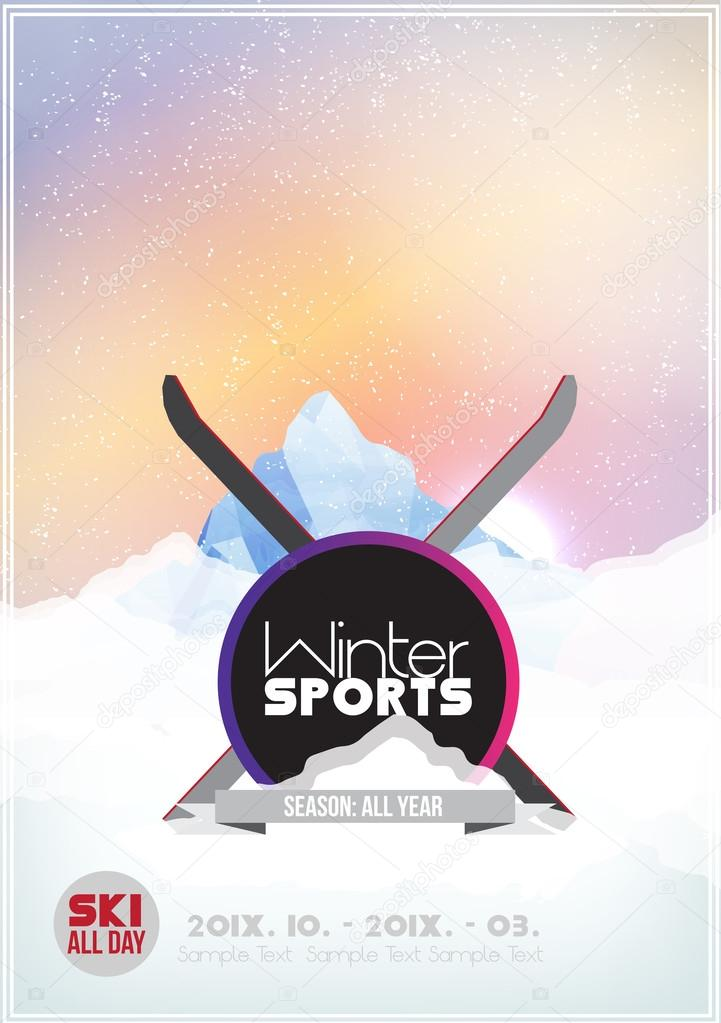 Winter background. Mountains and Ski in the Snow - Vector Illustration
