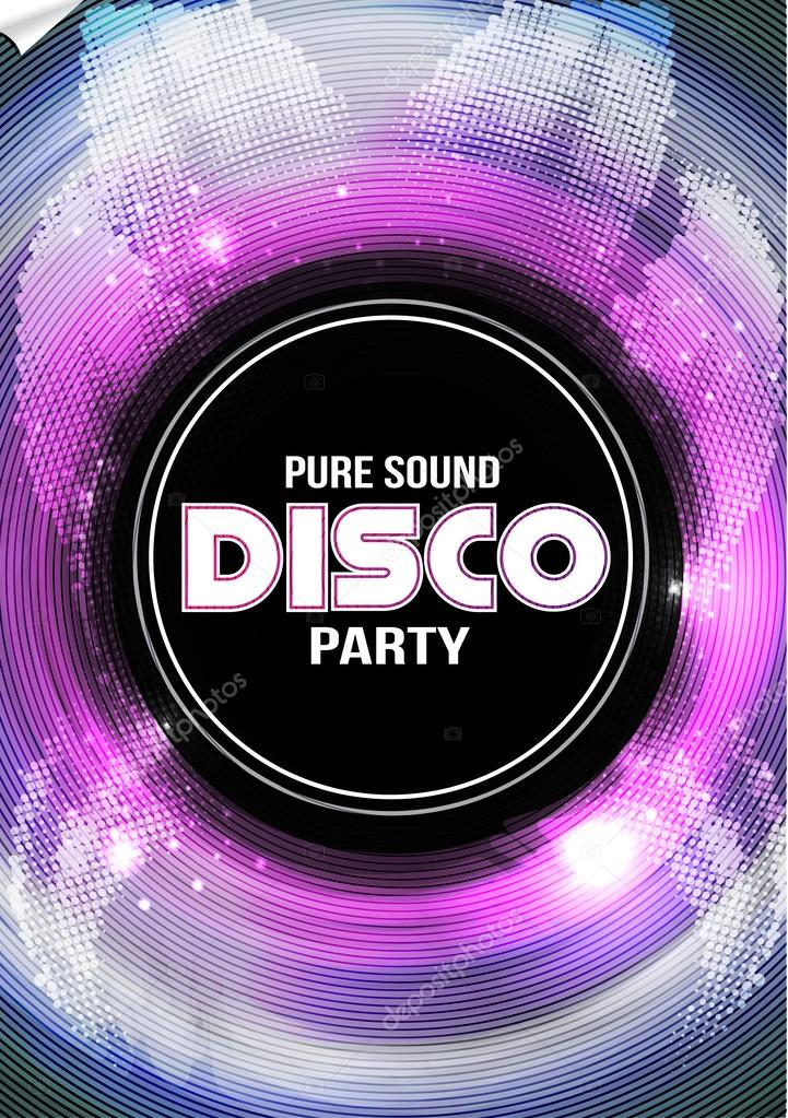 Disco Party Flyer Background Template  Vector Illustration