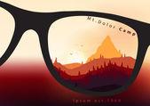Fotografie barevné krajiny horské hřebeny a borovice fores - vektorové ilustrace