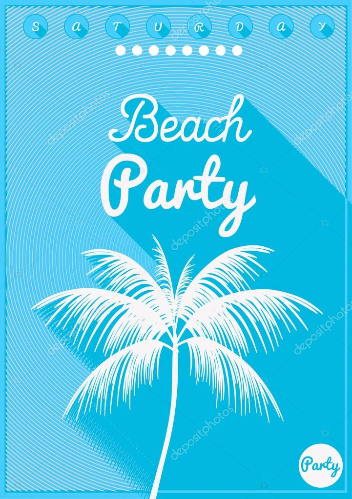 minimale flache Sommer Strand Party Flyer Vorlage - Vektor ...