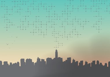 City Skyline with Net of Connected Lines and Dots - Vector Illustration clip art vector
