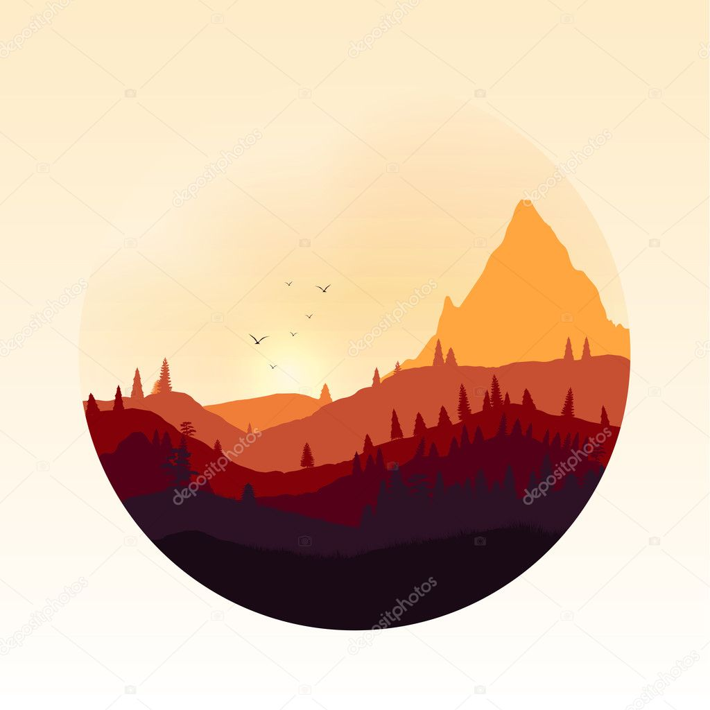 Colourful Mountain Landscape Applique - Vector Illustration