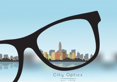 Out of Focus Business Building City with Sky and with Glasses that Correct the Vision - Vector Illustration