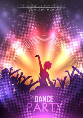 Disco Party Poster Background Template - Vector Illustration clip art vector
