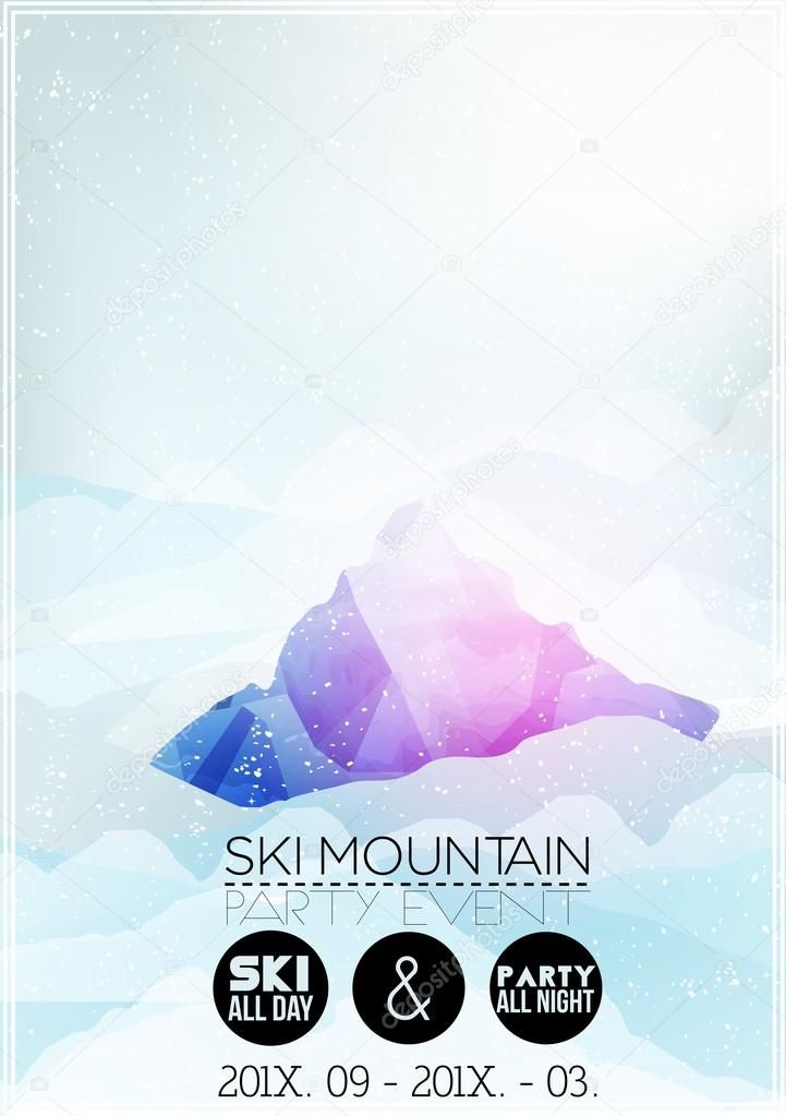 ski parti affiche mod le avec la montagne dans les nuages illustration vectorielle image. Black Bedroom Furniture Sets. Home Design Ideas