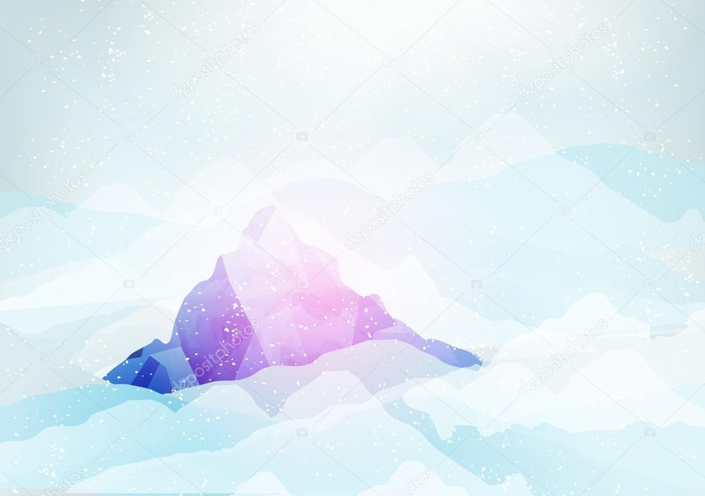 Snowy Mountains Peak with Clouds under it - Vector Illustration