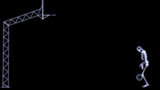 raggi x rafiography del corpo di huan (scheletro) giocando palla da basket