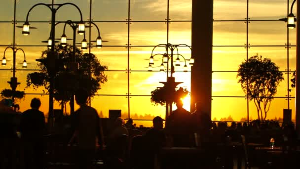 Airport Travelers People Silhouette Sunset