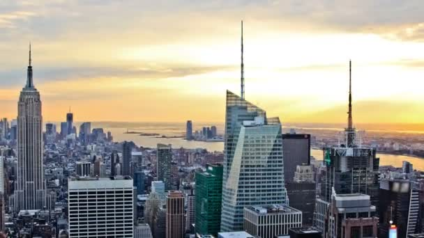 New York cityscape during sunset