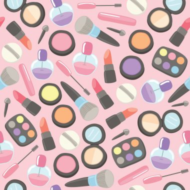 Beauty Makeup set Seamless pattern with Pink background