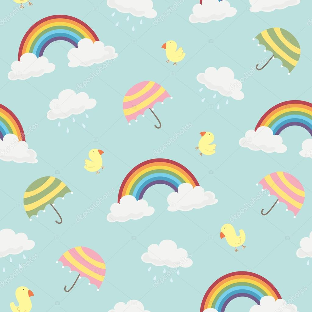 Cute Rainbow, Clouds, Umbrella and Birds Seamless Background Pattern