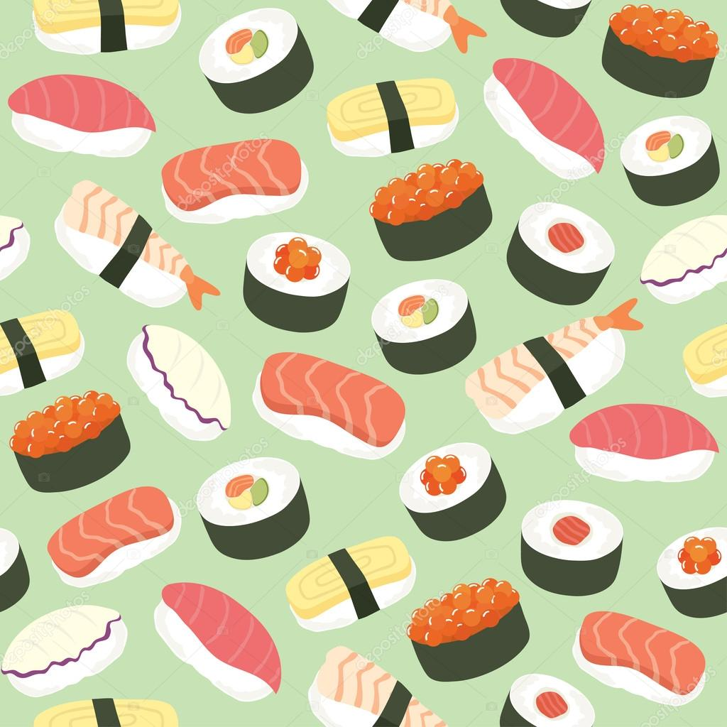 Background Cute Sushi Cute Sushi Background Seamless