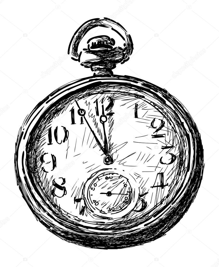 Taschenuhr gezeichnet  Taschenuhr — Stockvektor #47159893
