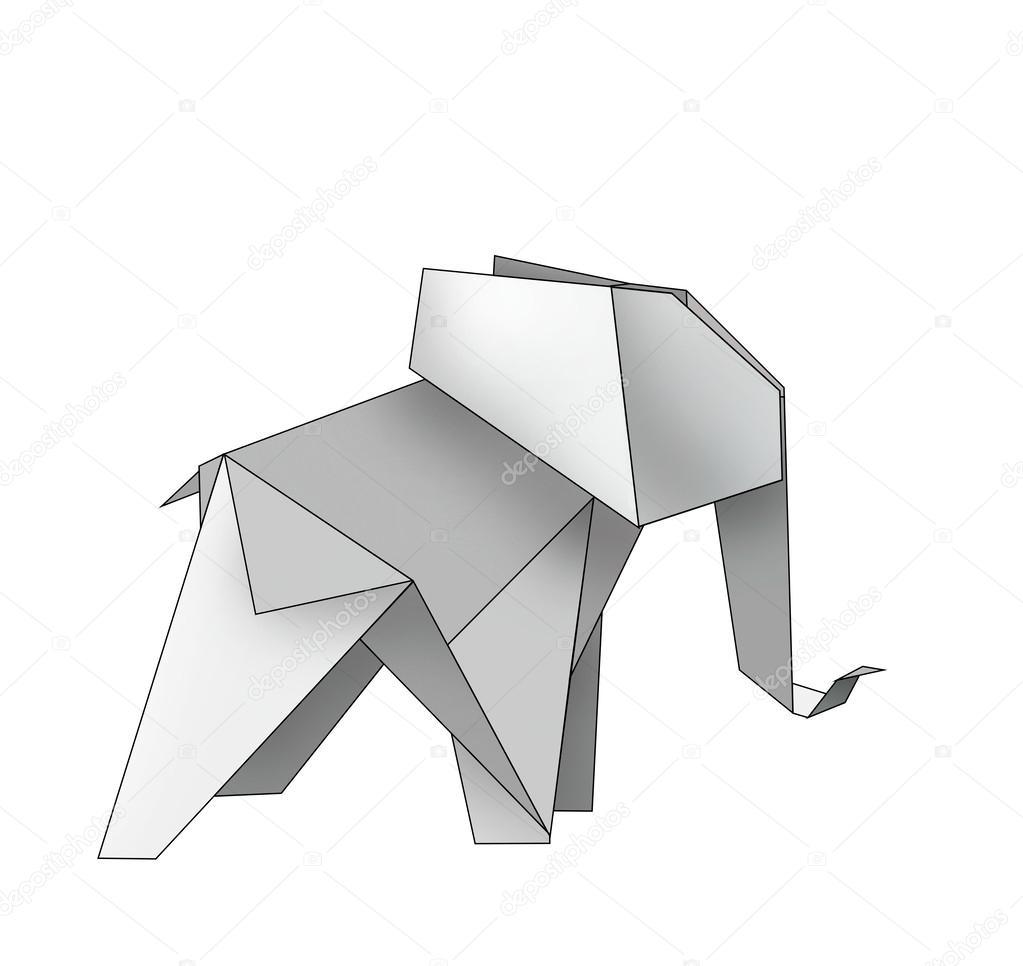 Origami elephant stock photo stoekenbroek 47062499 digital drawing of an elefant made by origami photo by stoekenbroek jeuxipadfo Choice Image