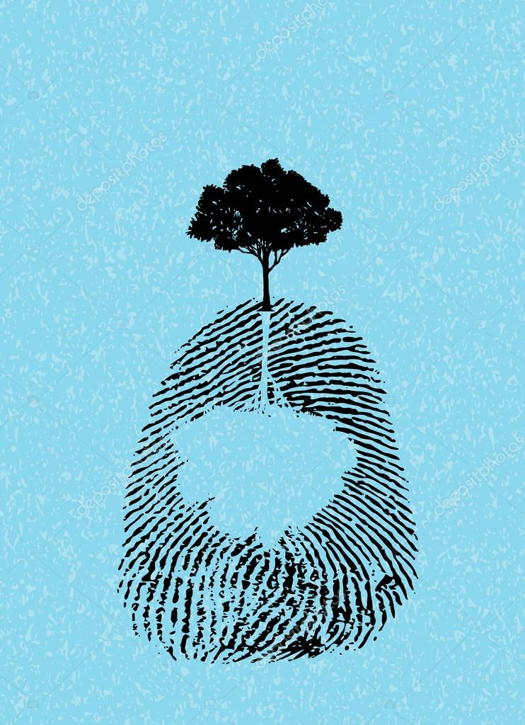 black tree silhouette on fingerprint