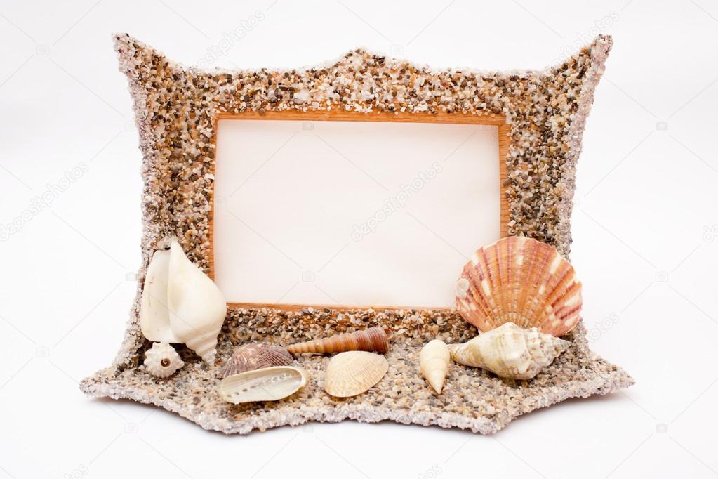 marco de la estrella de mar, conchas y cadenas de perlas — Foto de ...