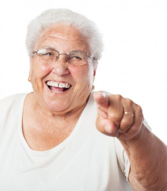 Elder woman pointing with finger