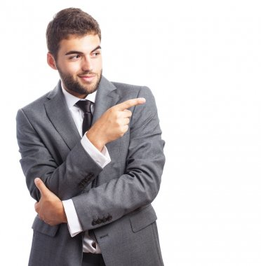 Business man showing presenting gesture