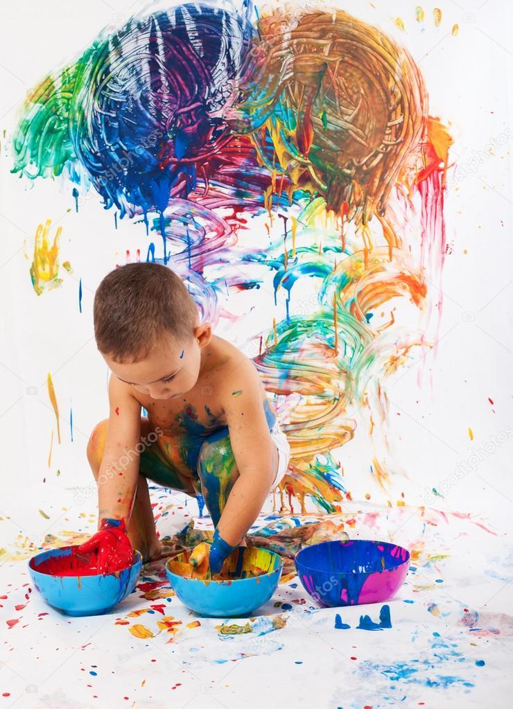 Картинка дети в краске