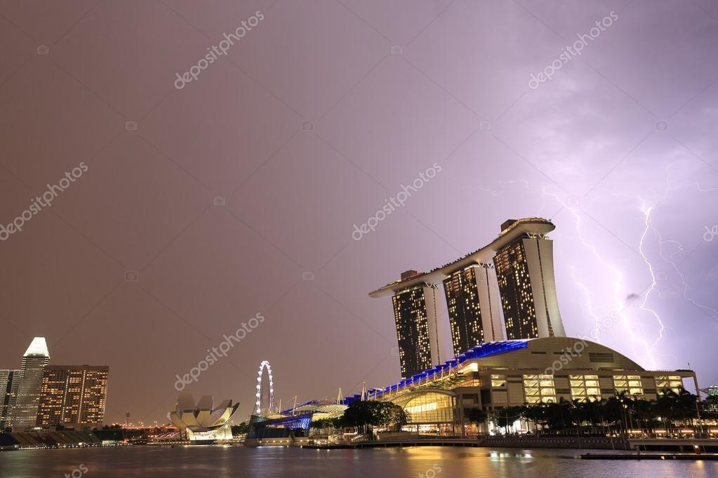 Thunderstorm in Marina Bay ,Singapore