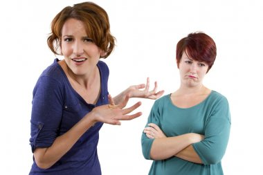 Women arguing and distrusting each other