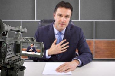 Tv studio camera recording male reporter or anchorman stock vector