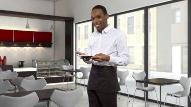 Waiter working in coffee shop