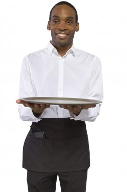 Male waiter carrying a blank tray