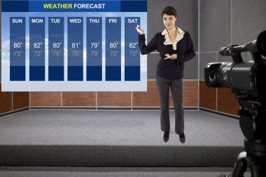 Woman on stage with weather chart and camera
