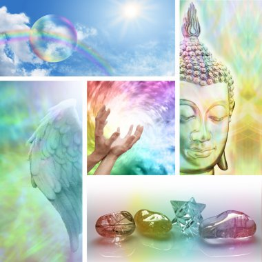 Five aspects of holistic healing including meditation, crystal healing, chakras,  distant healing and the universal spiral stock vector