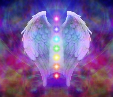 """Картина, постер, плакат, фотообои """"Крылья ангела и семь чакр"""", артикул 47828383"""