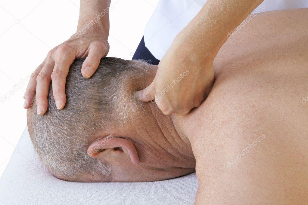 Aplicando presión para posterior cervical – Imagen de Archivo