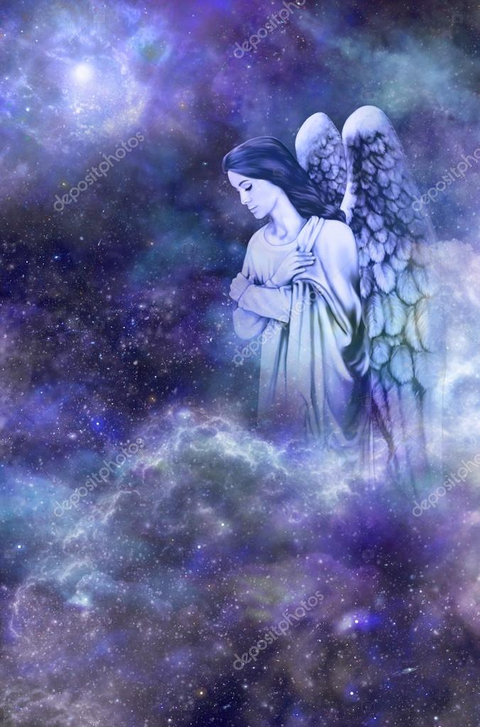 Guardian Angel on deep space blue background
